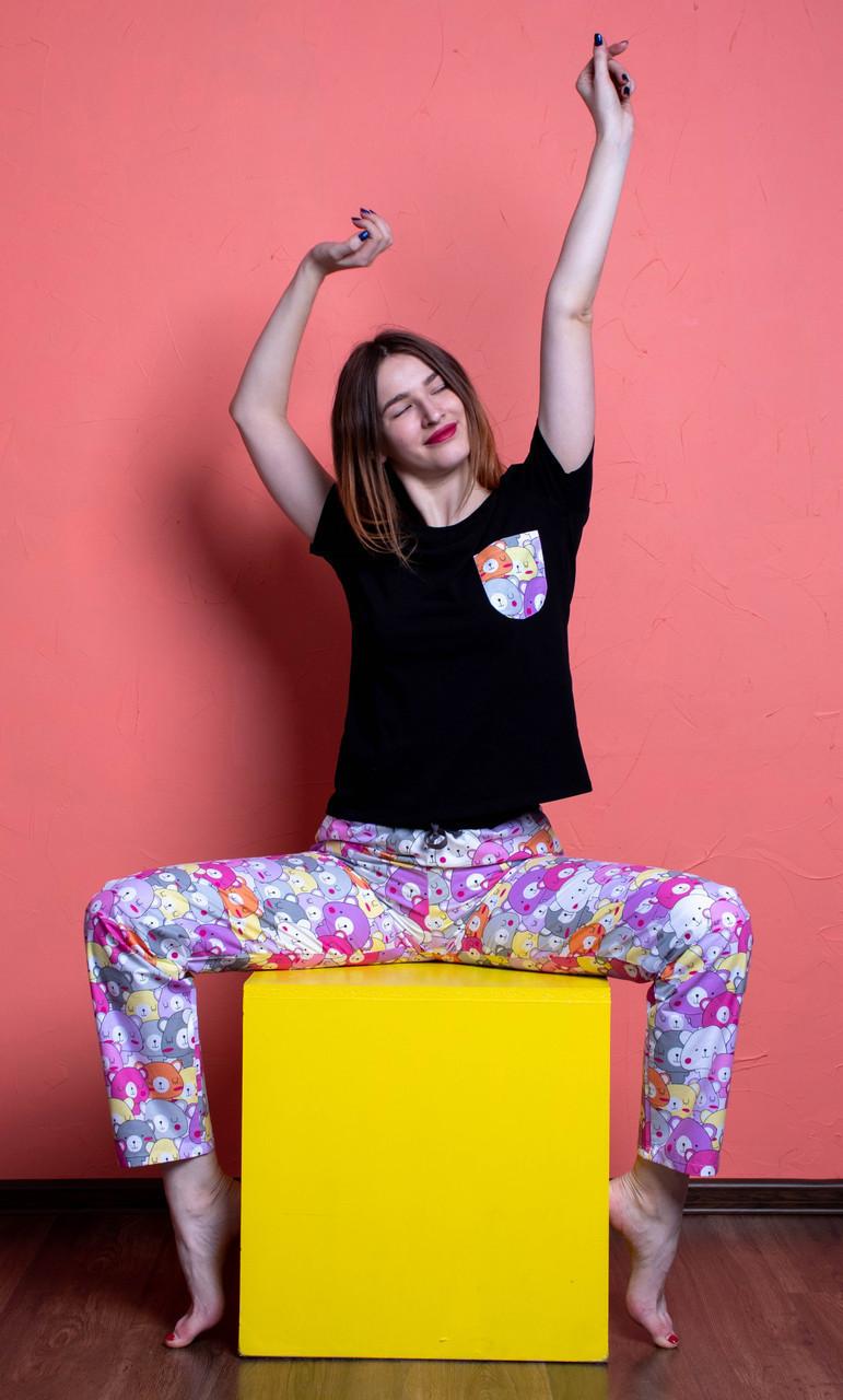 Женский домашний костюм, размер 3XL, Мишки Гамми, женская пижама (футболка и брюки)