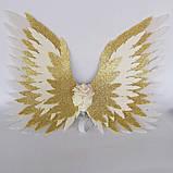 Крылья ангела Белые золотые Крылья айвори Украшение молочные крылья ангела, фото 5