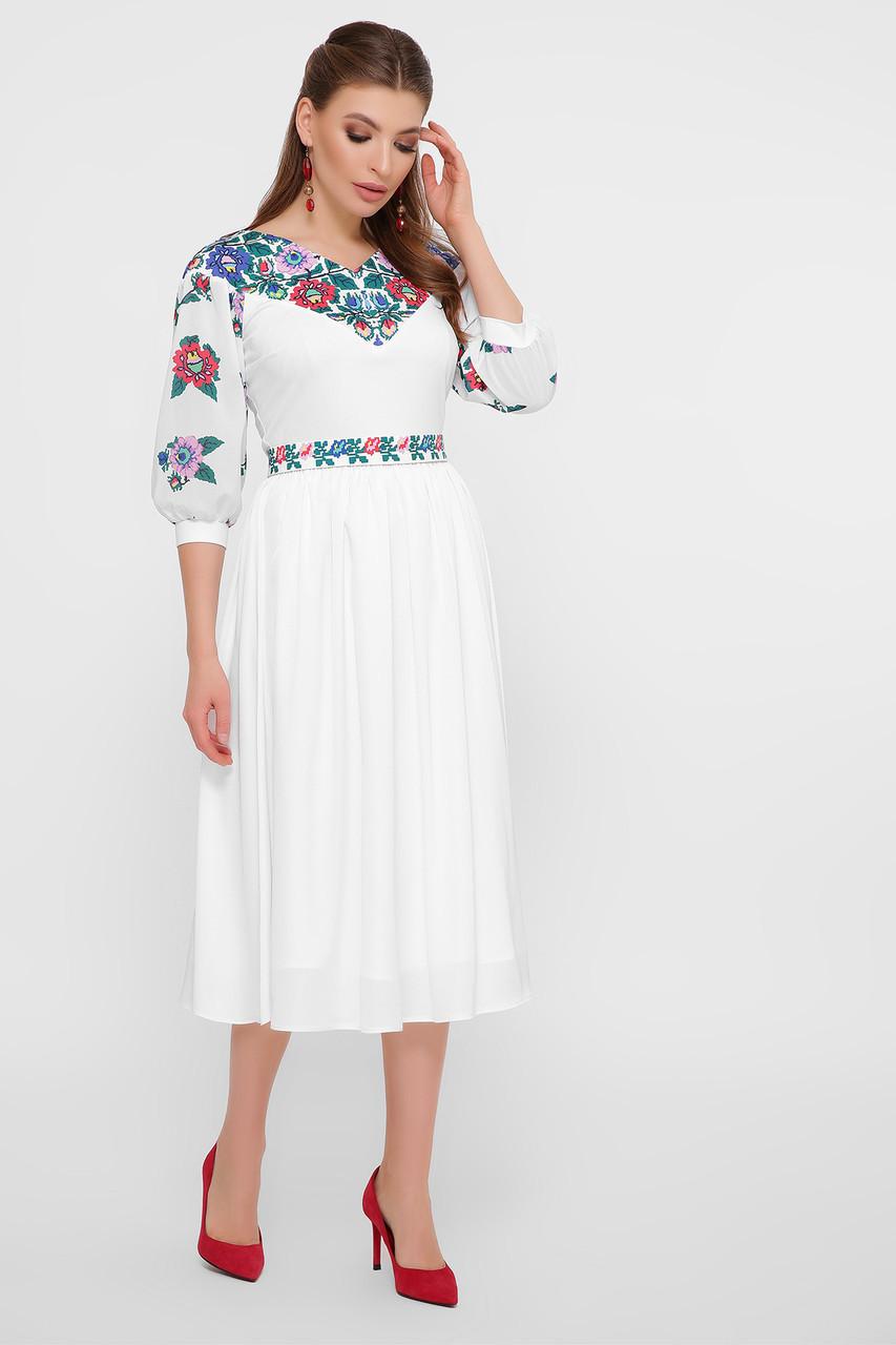 Гарне біле плаття з маками в етно-стилі шифон розмір S, M, L