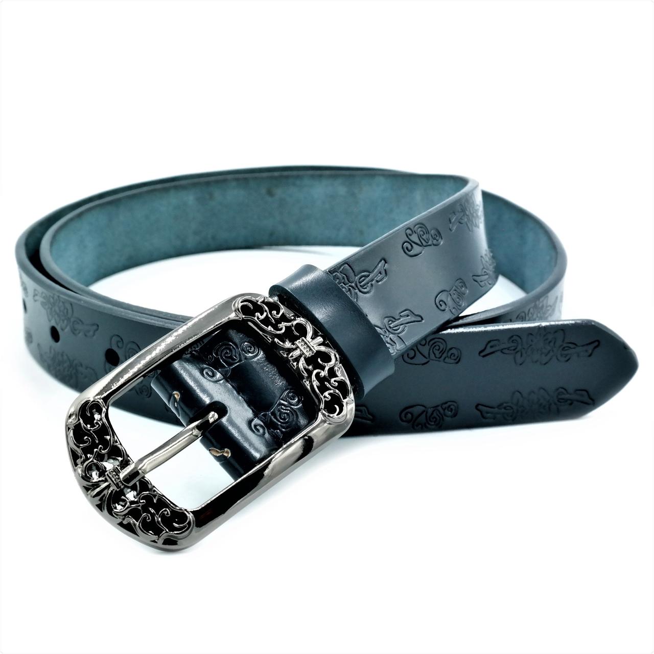 Женский кожаный ремень Le-Mon nwzh-30k-0034 Тёмно-синий
