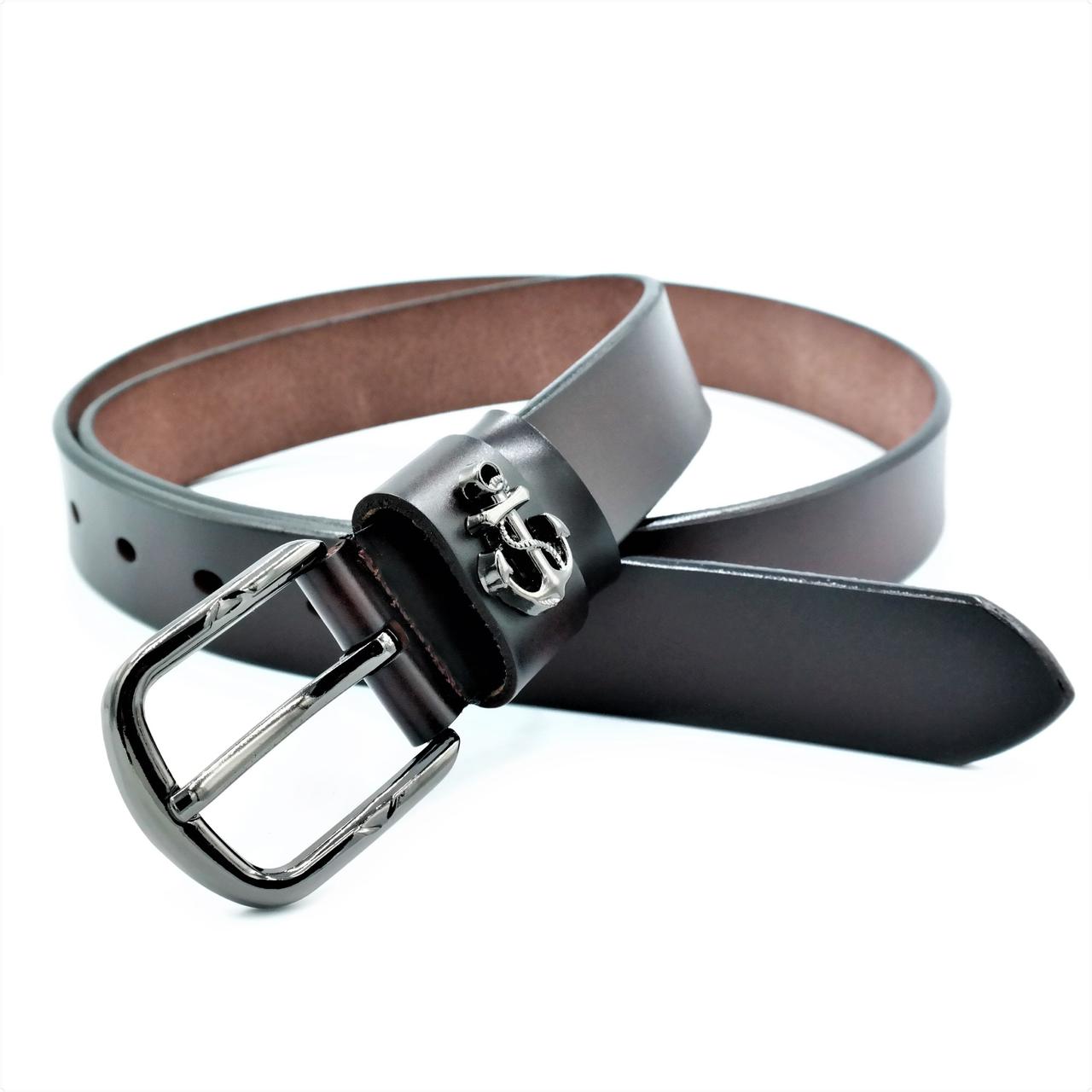 Женский кожаный ремень Le-Mon nwzh-30k-0040 Тёмно-коричневый