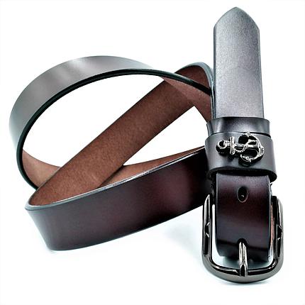 Женский кожаный ремень Le-Mon nwzh-30k-0040 Тёмно-коричневый, фото 2