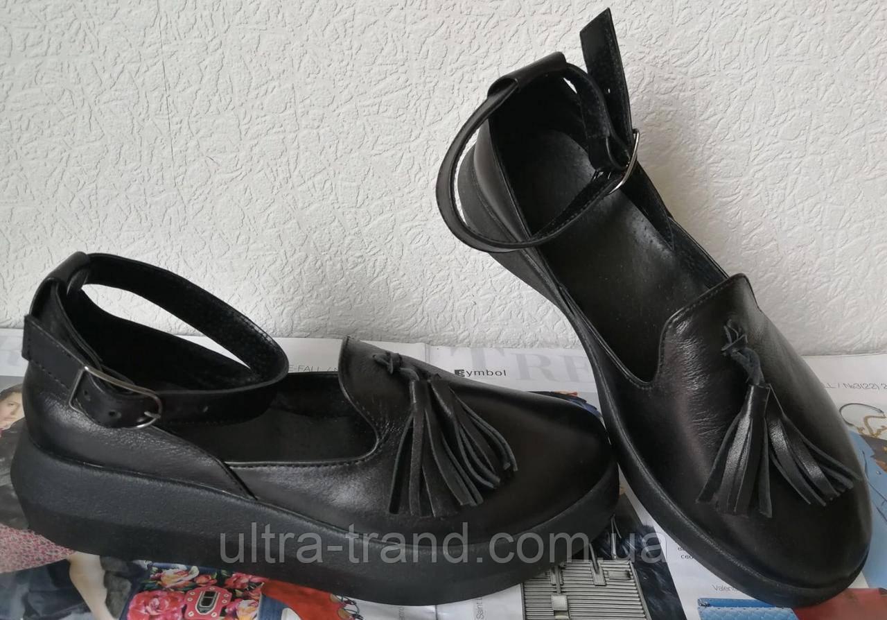 Elle шик! удобные кожаные женские осенние туфли на средней платформе