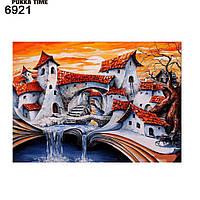 Картина алмазная мозаика Сказочные домики 25*35 см на подрамнике. Фентези. Города. Дома