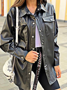 """Женская кожаная рубашка на кнопках """"Bruna"""" с карманами (2 цвета)"""