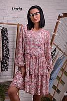Платье свободного кроя из креп-шифона с цветочным принтом, фото 1