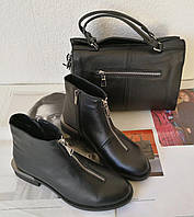 Ferragamo стильные женские демисезонные ботинки натуральная кожа змейка впереди маленький квадратный каблук, фото 1