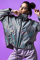 Короткая женская весенняя куртка - ветровка из светоотражающей плащевки