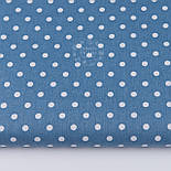 Лоскут ткани с горошком 7 мм на новом джинсовом фоне (№2617), размер 29*79 см, фото 2