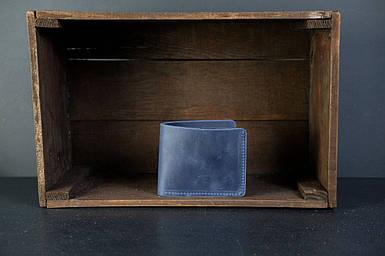 Кожаный кошелек портмоне Компакт Винтажная кожа цвет Синий