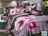 Сатиновое постельное белье евро 3D ELWAY S117