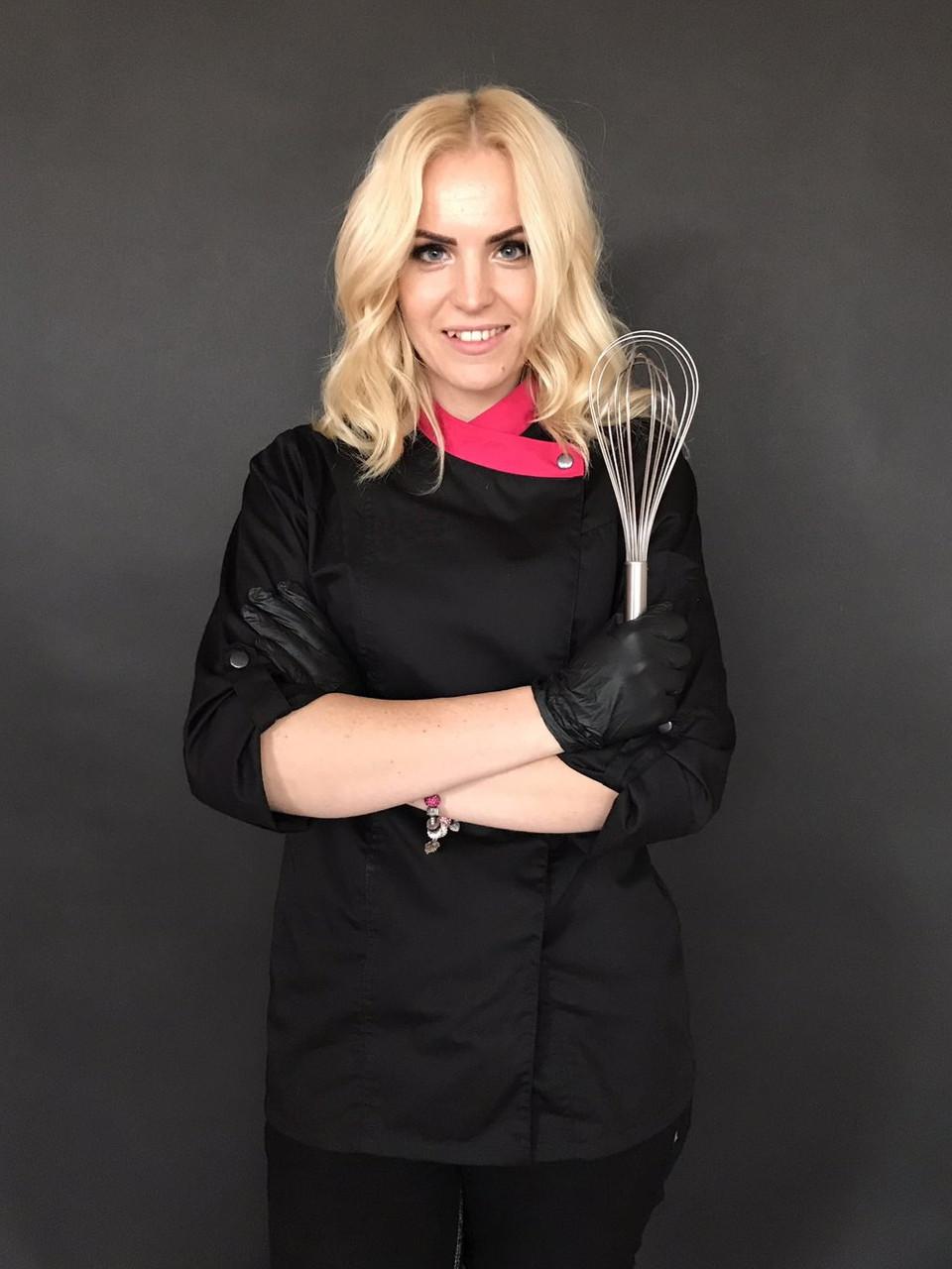 Китель кондитера, китель поварской женский черный с розовым Atteks - 00899