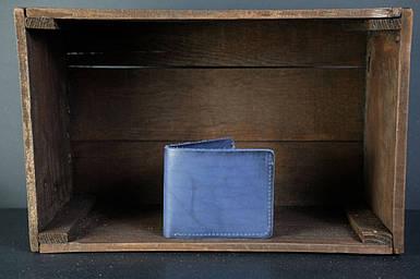 Кожаный кошелек портмоне Компакт Кожа Итальянский краст цвет Синий