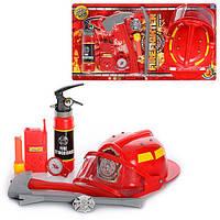 Набор пожарника 9905 A   каска, огнетушитель, топор, рация, лом, компас, на листе, 63-34-10см