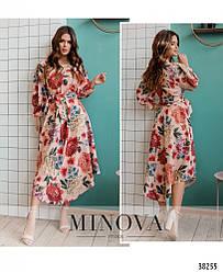 Привлекательное нежное платье миди в горошек и растительным принтом, Размеры: 42-44, 46-48