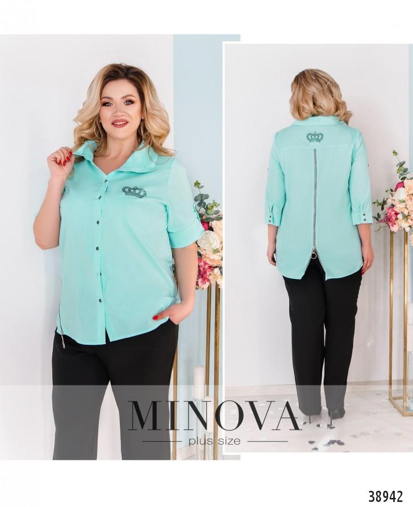 Стильная длинная рубашка плюс сайз, размер 48-50,52-54,56-58,60-62,64-66