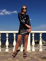 Платье Мини с эко-кожей
