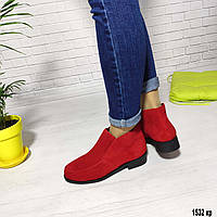 Ботинки деми красного цвета из натуральной замши