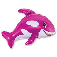 """Фольгована кулька велика фігура кит рожевий 35"""" Flexmetal"""