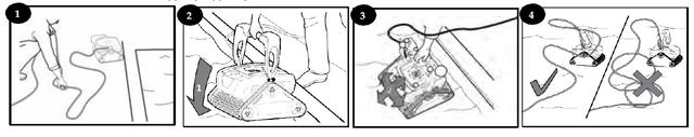 процесс погружения робота-пылесоса в бассейн