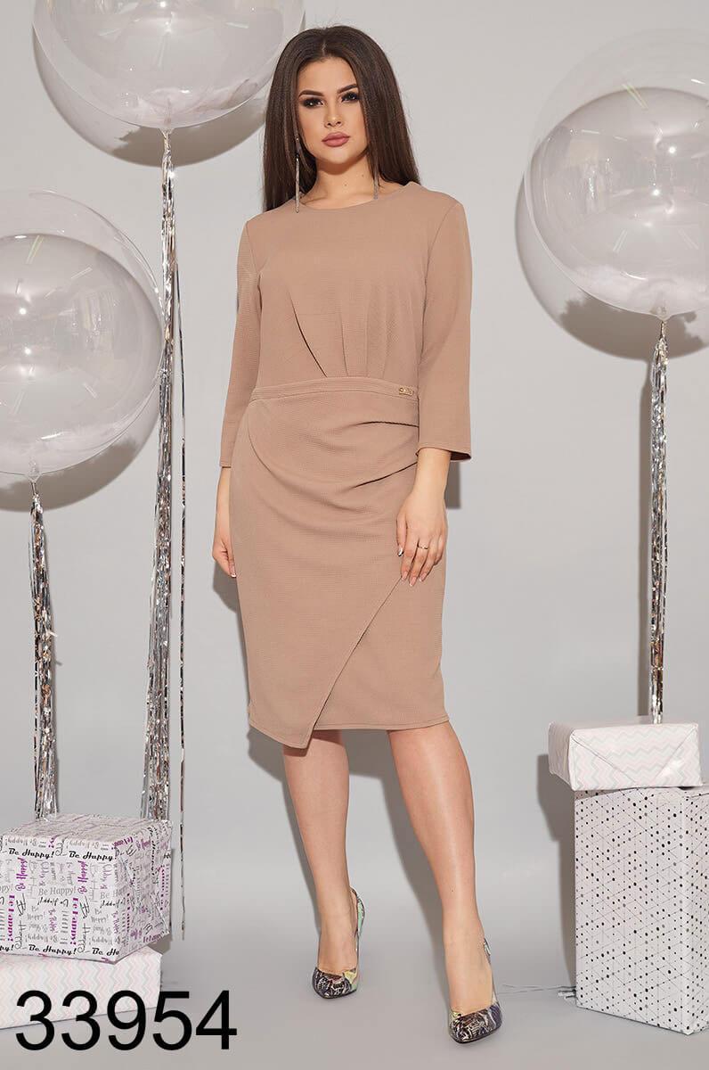 Женское трикотажное платье с рукавом три четверти р 52,54,56-58,60-62