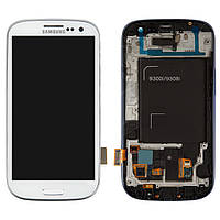 Дисплейный модуль (дисплей + сенсор) для Samsung S3 Neo i9300i / i9301, с панелью, белый, оригинал