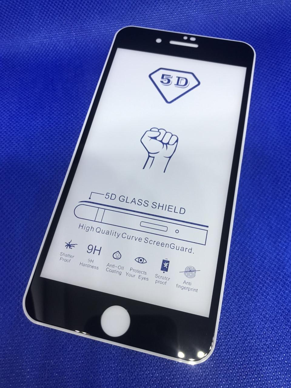 Iphone 8 plus (8+) защитное 3D 5D 6D 9D стекло Full Glue полное покрытие (черная окантовка) полный клей