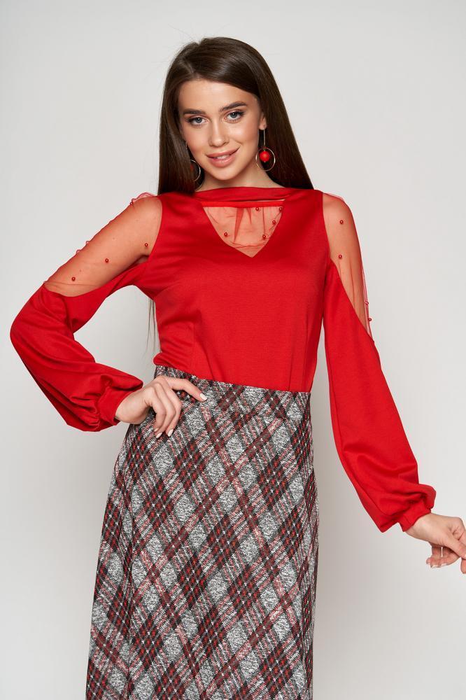 Молодежная  блуза со вставками на рукавах 44-50рр.( 2 цвета)