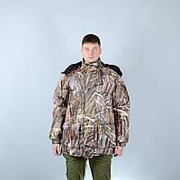 """Куртка зимняя для охоты и рыбалки """"Вольф"""", мембранная ткань - серые камыши"""