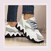 Женские кроссовки на шнурках сетка белая