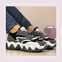 Женские кроссовки на шнурках сетка черная, фото 1