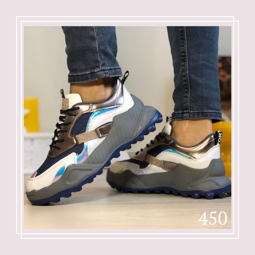 Женские кроссовки на шнурках текстиль джинс