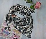 Женский Платок Шелковый брендовый Balenciaga Баленсиага Ручная обработка края, фото 3