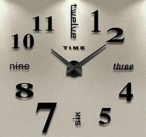 """Часы настенные 3D наклейки """"DIY CLOCK"""" от 60 до 90см Black (ZH520-B)"""