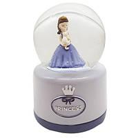"""Водяной шар """"Принцесса"""" снежный шар, музыкальный,  цвет сиреневый, размер 13 см"""
