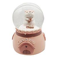 """Водяной шар """"Хомяк"""" снежный шар, музыкальный с автоподдувом,  цвет розовый, размер 17 см"""