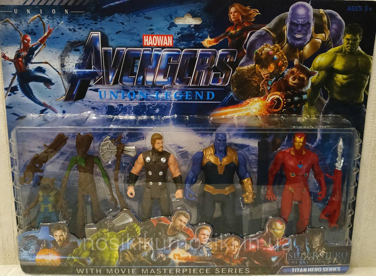 Набір Супергероїв Марвел — 5 героїв (Грут, Єнот, Тор, Танос, Залізна Людина), аксесуари, підсвітка