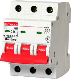 Модульний автоматичний вимикач e.mcb.stand.45.3.C16, 3р, 16А, C, 4,5 кА, фото 2