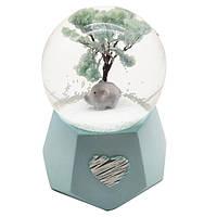 """Водяной шар """"Слоник"""" снежный шар,  с подсветкой , цвет голубой, размер 10-7-7 см"""