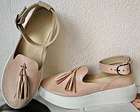 Elle шик! удобные замшевые женские осенние туфли на средней платформе пудра кожа, фото 1