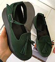 Elle шик! удобные замшевые женские осенние туфли на средней платформе зеленого цвета, фото 1