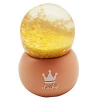 """Водяной шар """"Lucky"""" снежный шар,  с подсветкой , цвет персиковый,  размер 10см"""