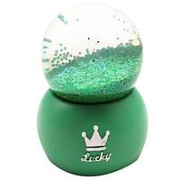 """Водяной шар """"Lucky"""" снежный шар,  с подсветкой , цвет зеленый,  размер 10см"""