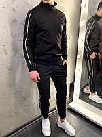ЛЮКС! Спортивный костюм мужской весенний осенний с лампасами Sektor 2.0 х black-white ТОП качества
