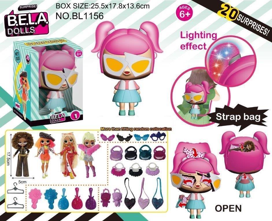 Кукла Bella Dolls сумка, в кот. кукла 17,5см+сюрпризы: одежда, украшения, аксессуары,  в кор. /28-2/
