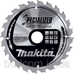 Пильный диск Makita по древесине с гвоздями 190 мм 24 зуба (B-09422)