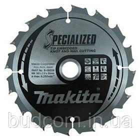 Пильный диск Makita по древесине с гвоздями SPECIALIZED 185х15,88 мм 16 зубьев (B-09335)