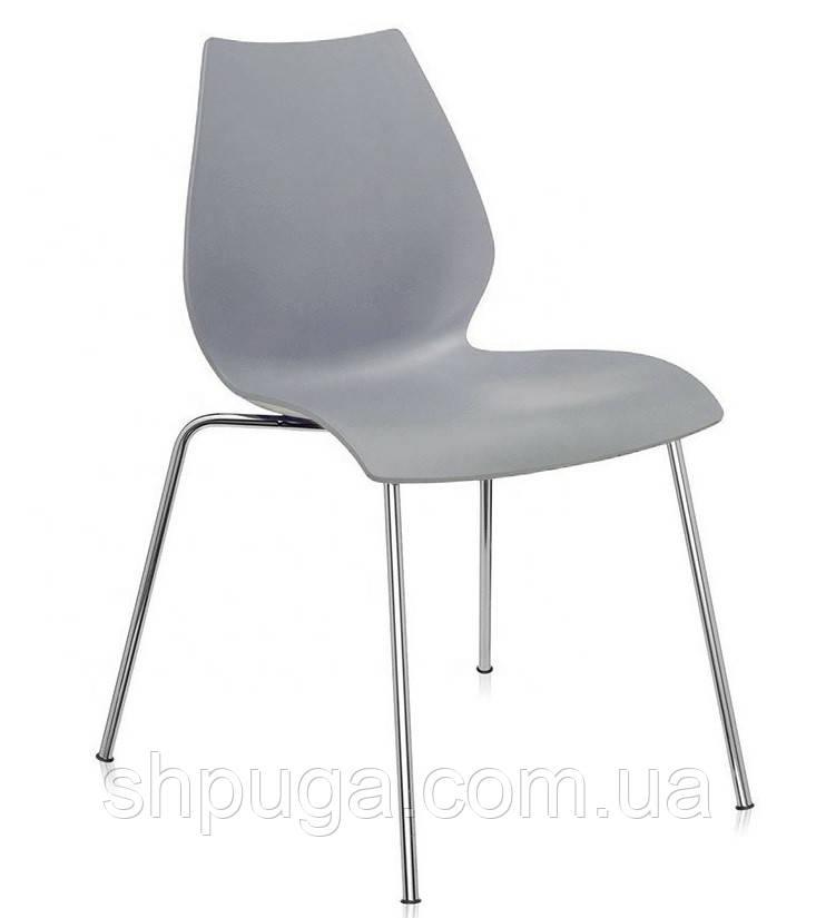 Штабелируемый стул Лили с хромированными ножками, цвет серый