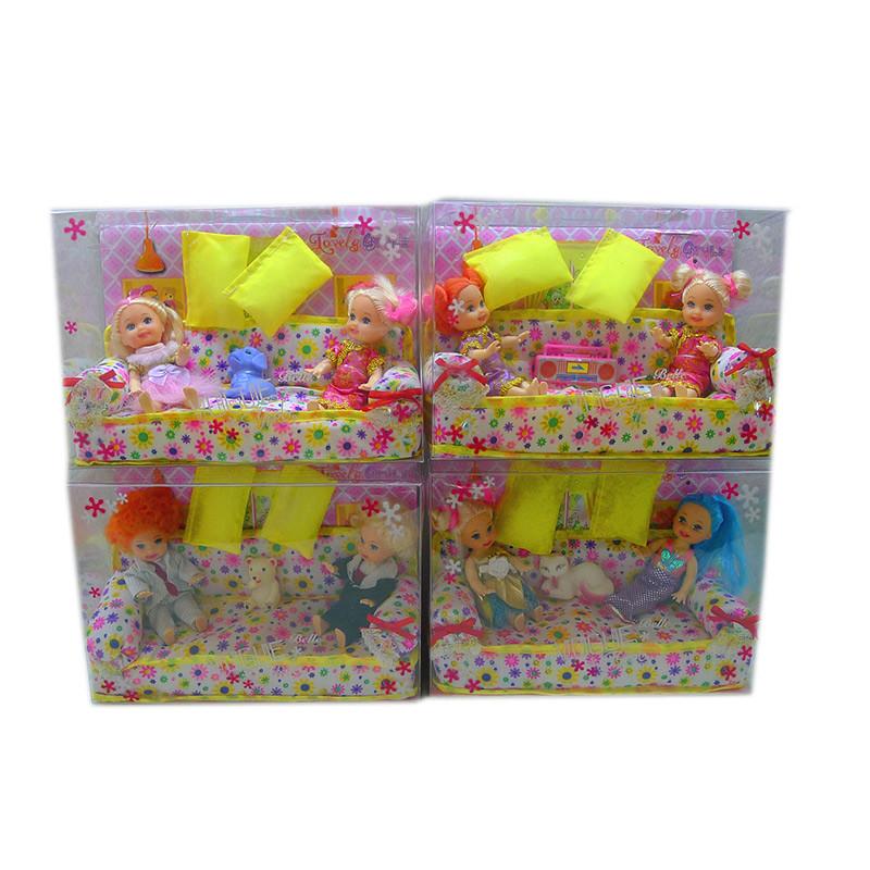 Кукла маленькая 4 вида, 2 в наборе с кроваткой, в кор.20*14*7 см /96-2/