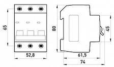 Модульний автоматичний вимикач e.mcb.stand.45.3.C63, 3р, 63А, C, 4,5 кА, фото 2